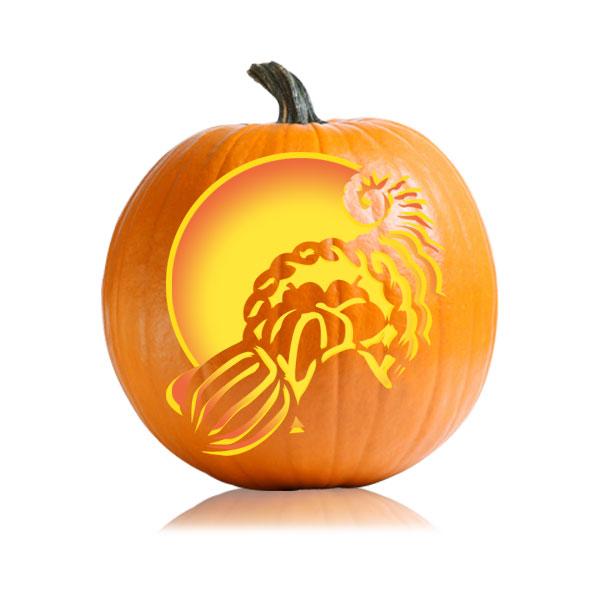 Cornucopia Thanksgiving Pumpkin Stencil Ultimate Pumpkin