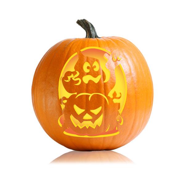 Ghost And JackoLantern Pumpkin Carving Stencil