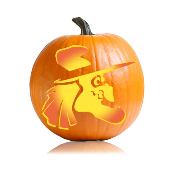 The gallery for easy witch pumpkin carving stencils for Witch carving pattern for pumpkins
