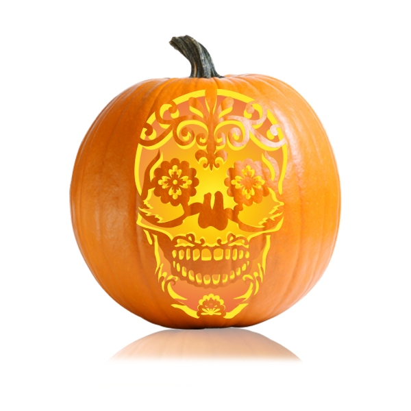 Sugar skull pumpkin carving stencil ultimate