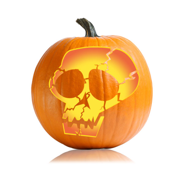 Cracked Skull Pumpkin Pattern
