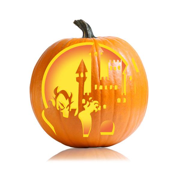 Dracula Castle Pumpkin Stencil