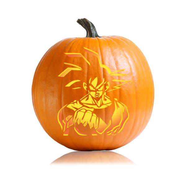 Goku Saiyan Pumpkin Stencil