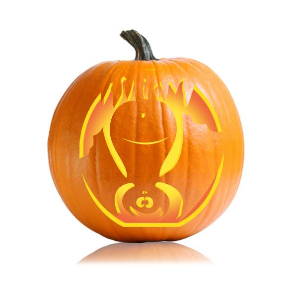 Goofy Bat Pumpkin Carving Stencil