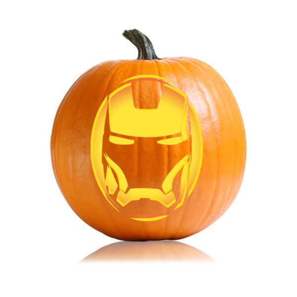Iron Man Face Pumpkin Stencil