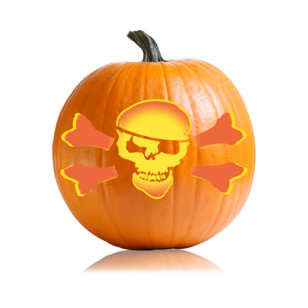 Jolly Roger Pumpkin Carving Stencil