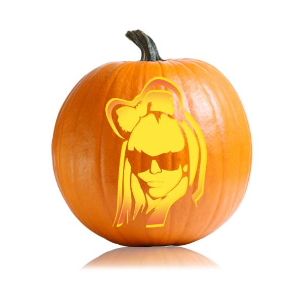 Lady Gaga 2 Pumpkin Stencil