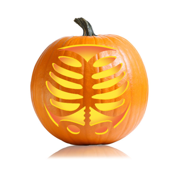 pumpkin template devil  Ribcage Pumpkin Carving Stencil
