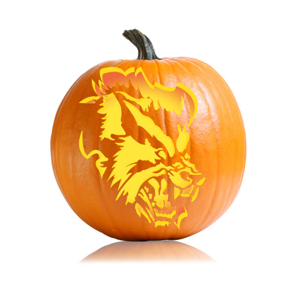 Scary Pumpkin Carving Patterns: Scary Werewolf Pumpkin Stencil