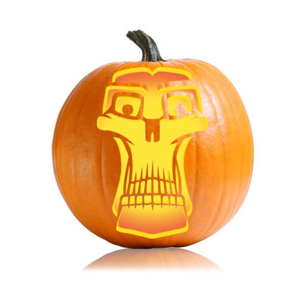 Skinny Skull Pumpkin Stencil