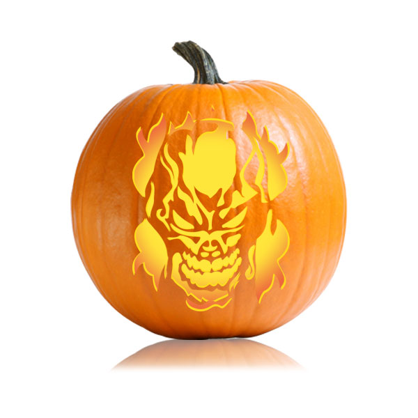 Skull Fire Pumpkin Stencil