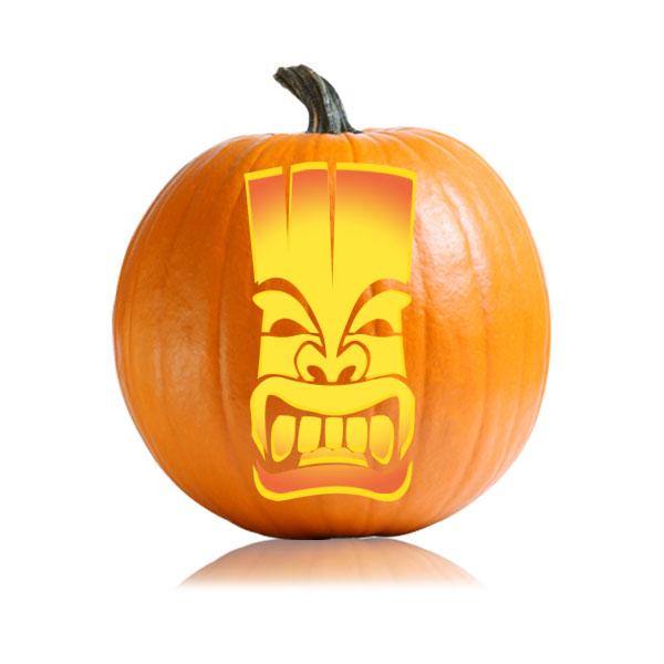 Tall Tiki Pumpkin Stencil