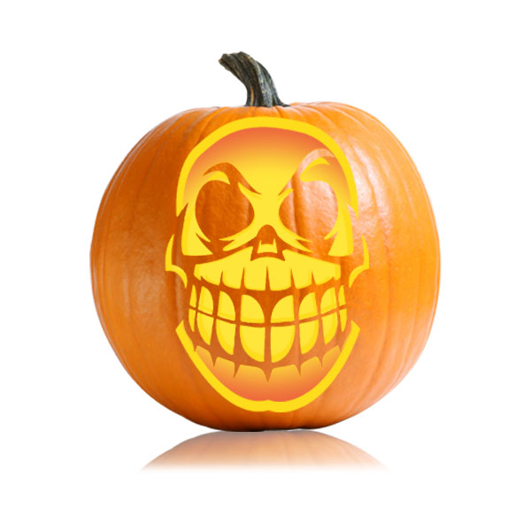 Toothy skull pumpkin carving pattern ultimate