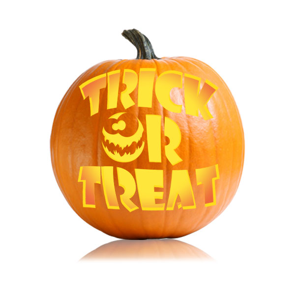 Trick or treat easy version pumpkin carving designs for Trick or treat pumpkin template