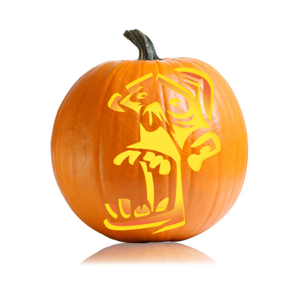 Weird Zombie Pumpkin Carving Pattern