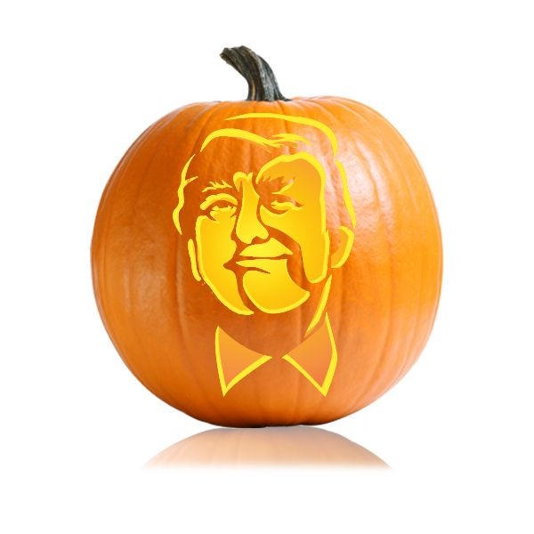 Donald Trump Smirk Pumpkin Carving Stencil