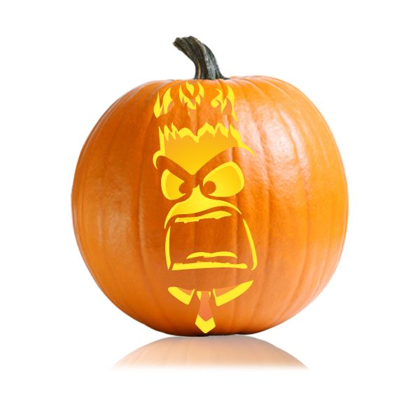 Inside Out Anger Pumpkin Carving Stencil