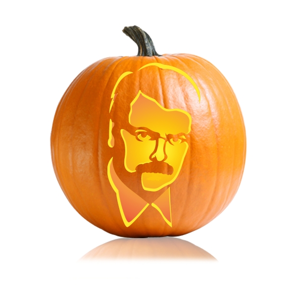 Ron Swanson Pumpkin Carving Stencil