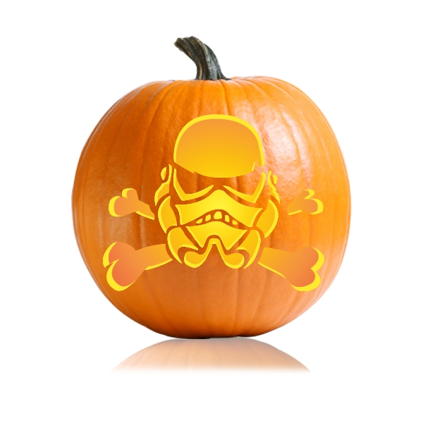Storm Trooper Skull Cross bones Pumpkin Carving Stencil