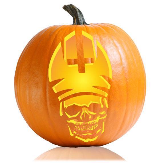 Zombie Pope Pumpkin Stencil