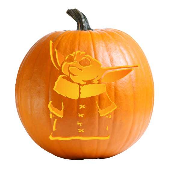 Baby Yoda Pumpkin Carving Stencil