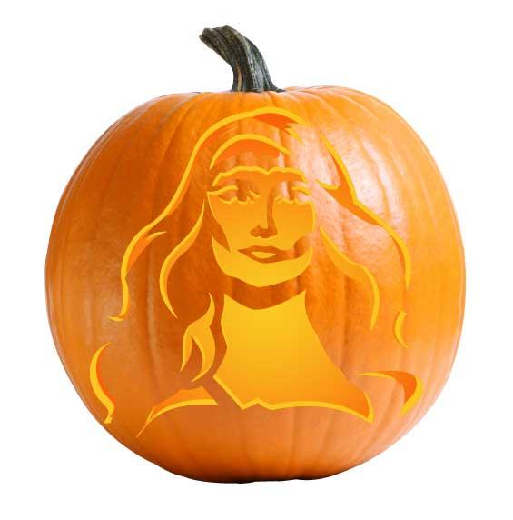 Queen Maeve Pumpkin Carving Stencil