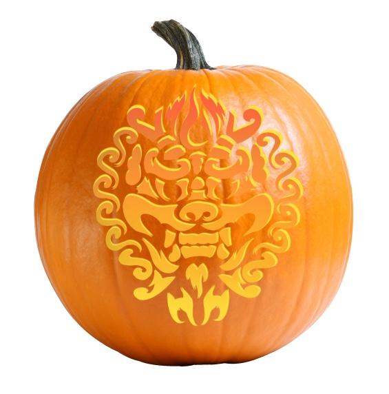 Smiling Dragon Pumpkin Carving Stencil